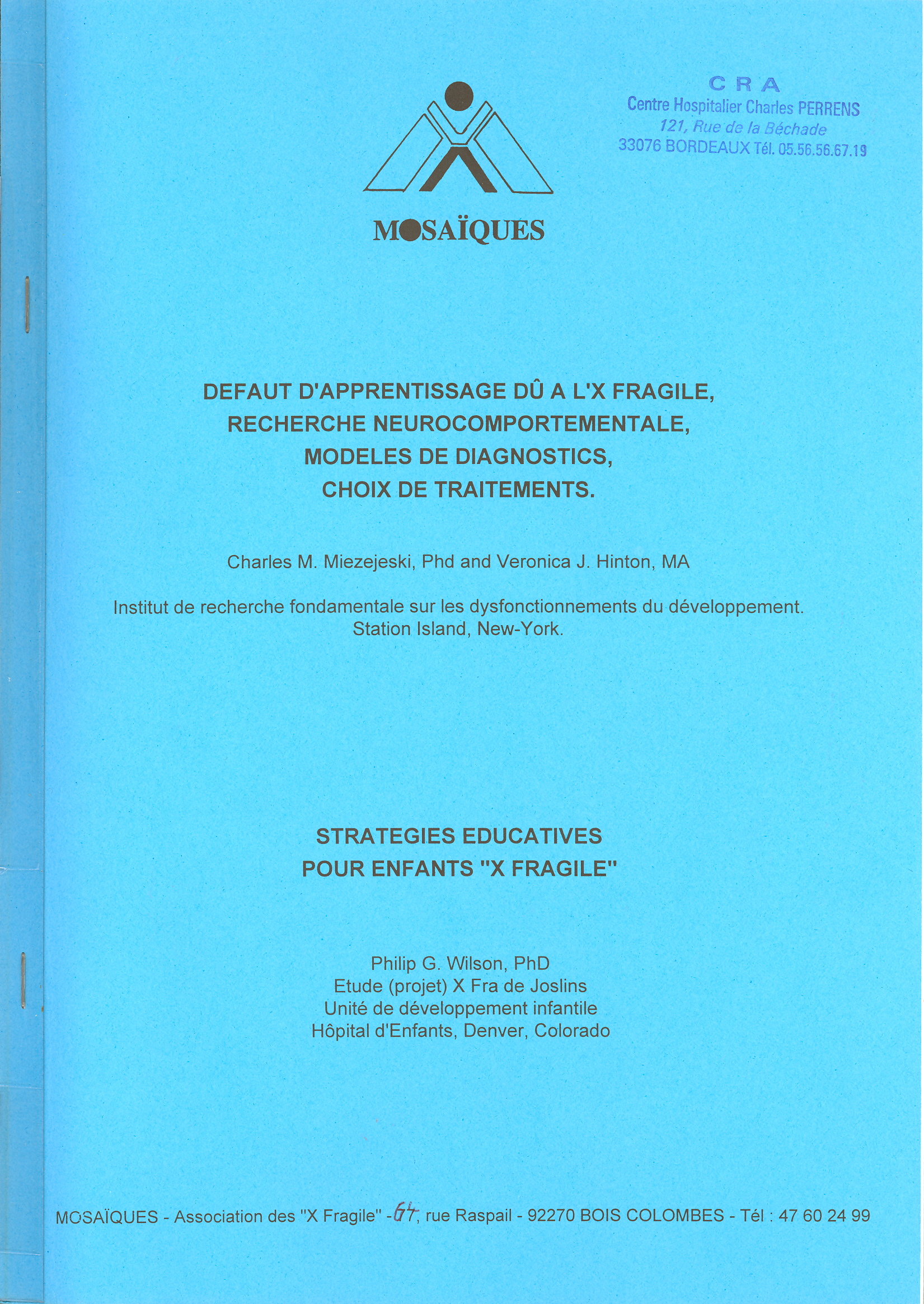 Conference internationale x fragile 1992
