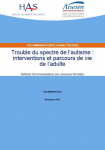Trouble du spectre de l'autisme : interventions et parcours de vie de l'adulte. Méthode Recommandations par consensus formalisé
