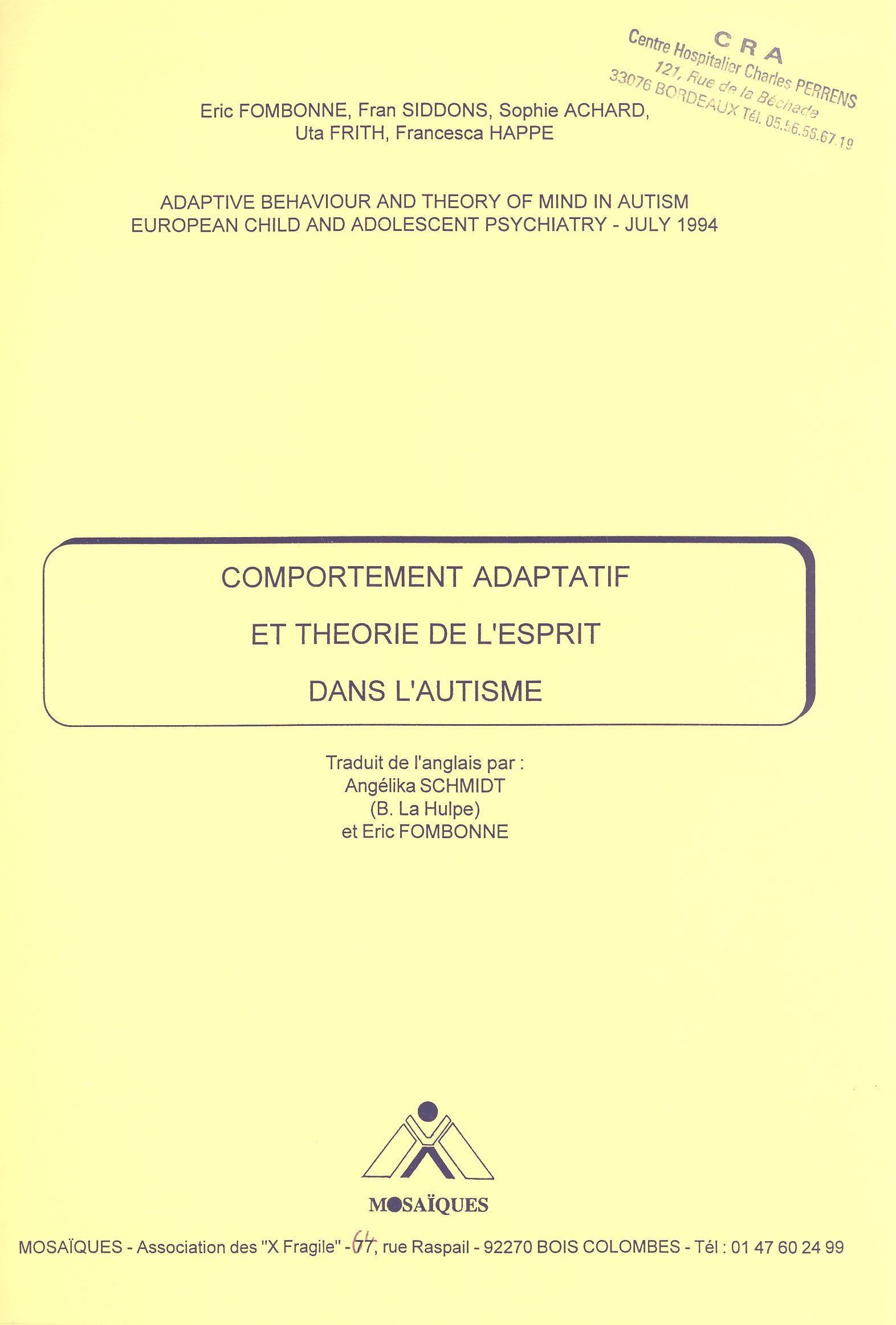 Comportement adaptatif et théorie de l'esprit dans l'autisme